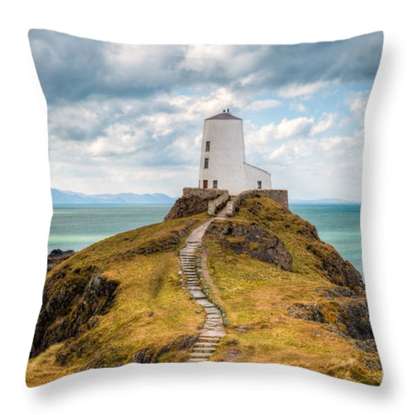 Twr Mawr Path Throw Pillow by Adrian Evans