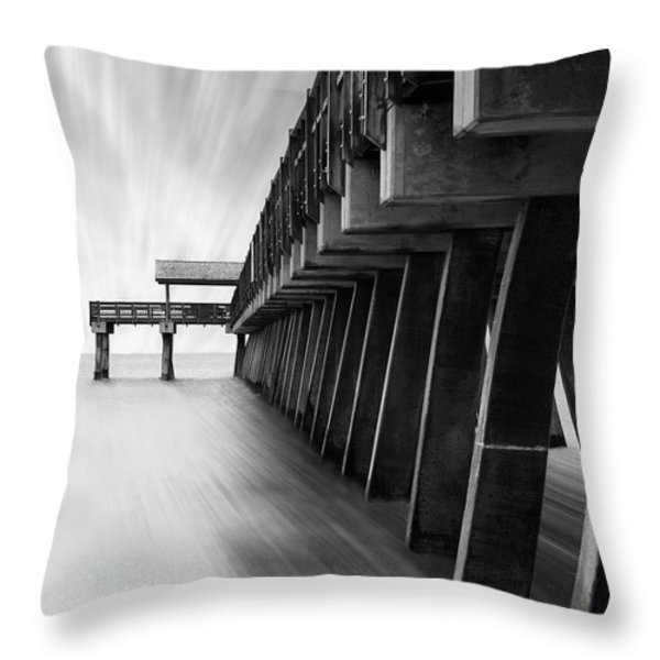 Tybee Island Pier Throw Pillow by Mike McGlothlen