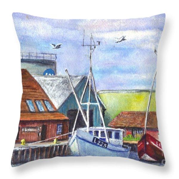 Tyboron Harbour In Denmark Throw Pillow by Carol Wisniewski
