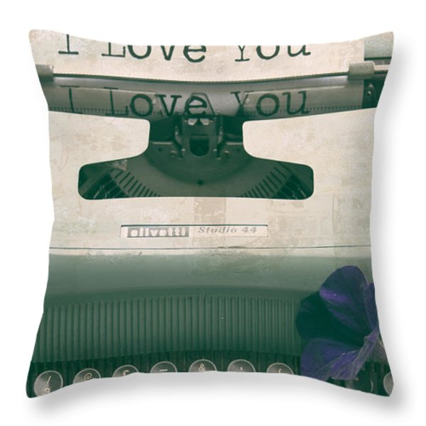 Typewriter Love Throw Pillow by Nomad Art And  Design