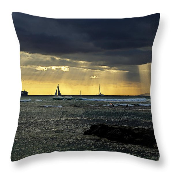 Typical Hawaiian Evening Throw Pillow by Cheryl Young