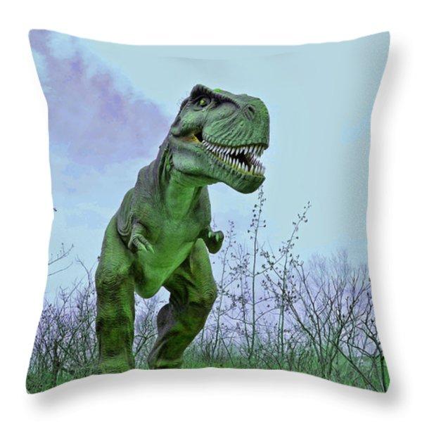 Tyrannosaurus Rex  T- Rex Throw Pillow by Allen Beatty