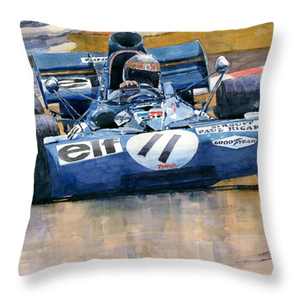 Tyrrell Ford 003 Jackie Stewart 1971 French GP Throw Pillow by Yuriy  Shevchuk