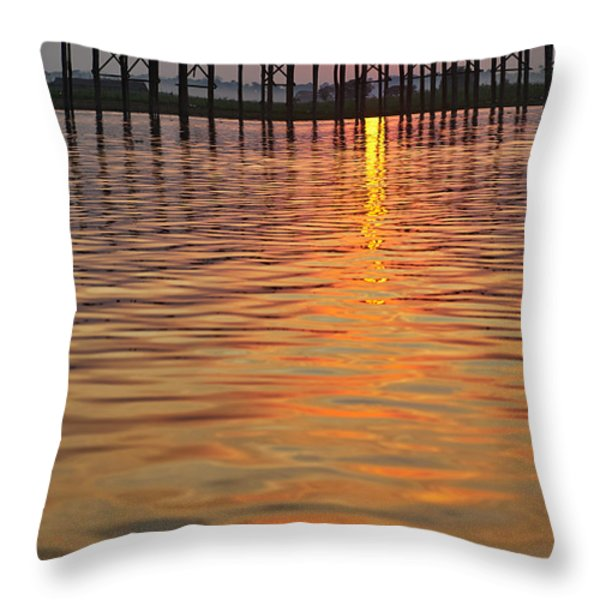 U Bein Bridge In Mandalay Throw Pillow by Juergen Ritterbach