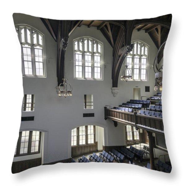 Uf University Auditorium Window And Balcony Detail Throw Pillow by Lynn Palmer