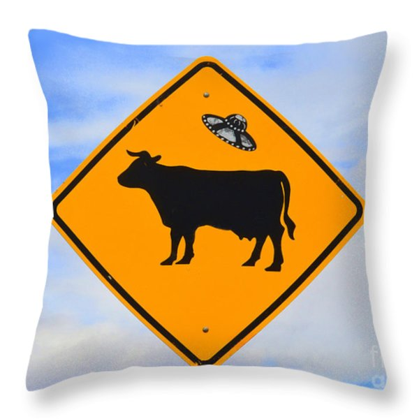 Ufo Cattle Crossing Sign In New Mexico Throw Pillow by Catherine Sherman