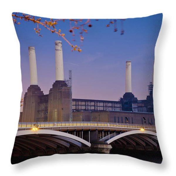 Uk, England, View Of Battersea Power Throw Pillow by Dosfotos