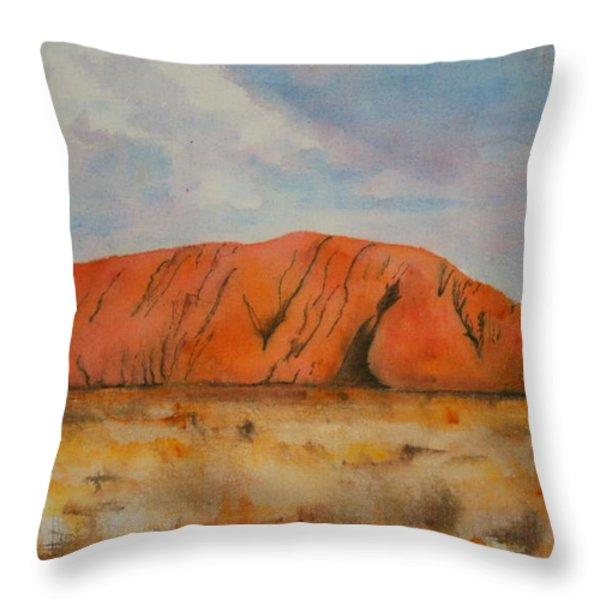 Uluru Throw Pillow by Lyndsey Hatchwell