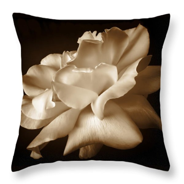 Umber Rose Floral Petals Throw Pillow by Jennie Marie Schell