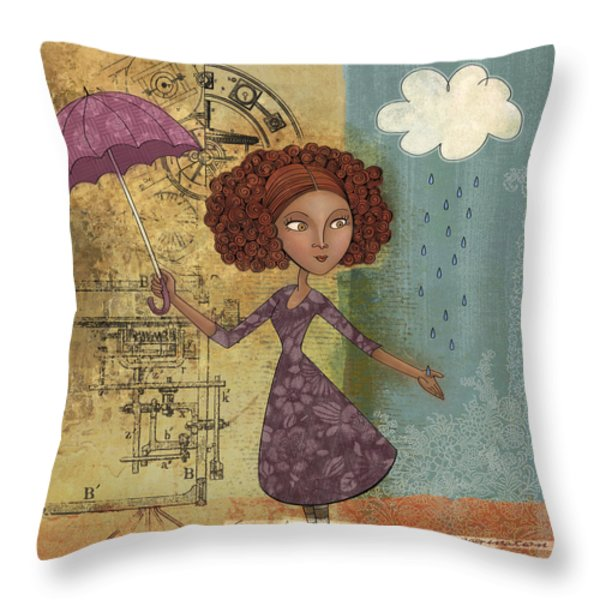 Umbrella Girl Throw Pillow by Karyn Lewis Bonfiglio
