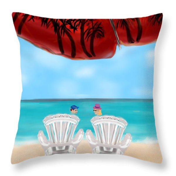 Umbrella View Throw Pillow by Christine Fournier