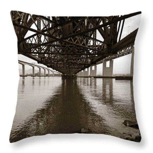 Under Bridges Throw Pillow by Donna Blackhall