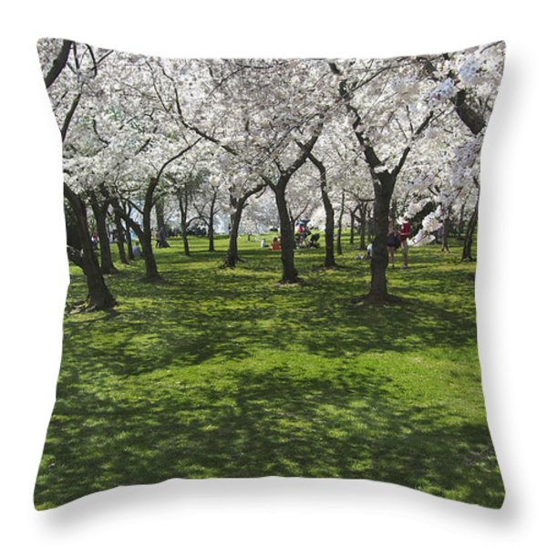 Under The Cherry Blossoms - Washington Dc. Throw Pillow by Mike McGlothlen