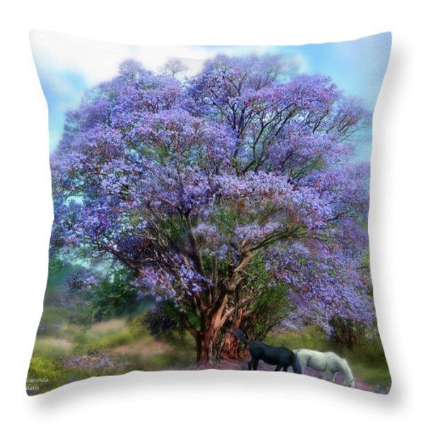 Under The Jacaranda Throw Pillow by Carol Cavalaris