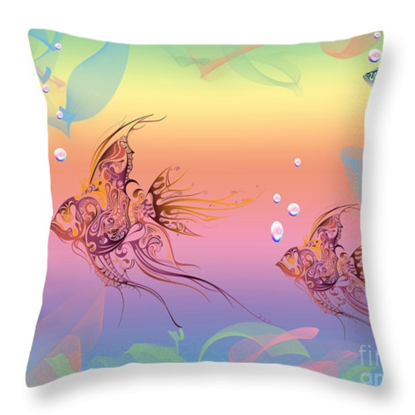 Under The Sea Angel Fish Throw Pillow by Cheryl Young