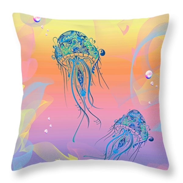Under The Sea Jelly Fish Throw Pillow by Cheryl Young