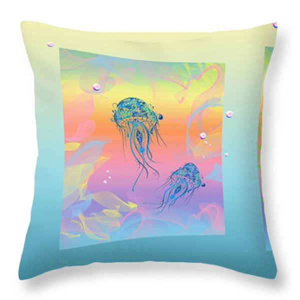 Under The Sea Triptych Throw Pillow by Cheryl Young