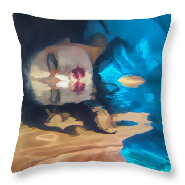 Underwater Geisha Abstract 1 Throw Pillow by Scott Campbell