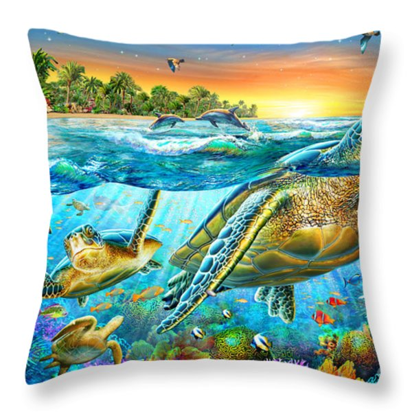 Underwater Turtles Throw Pillow by Adrian Chesterman