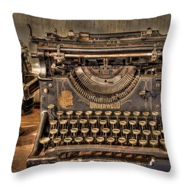 Underwood Typewriter Number 5 Throw Pillow by Debra and Dave Vanderlaan