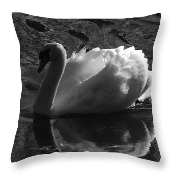 Unfolding Wings  Swan Of Light Throw Pillow by Pamela Phelps