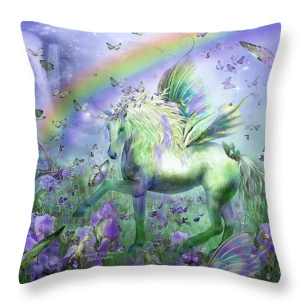 Unicorn Of The Butterflies Throw Pillow by Carol Cavalaris