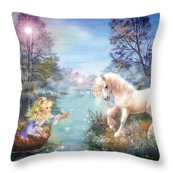 Unicorns Lake Throw Pillow by Zorina Baldescu