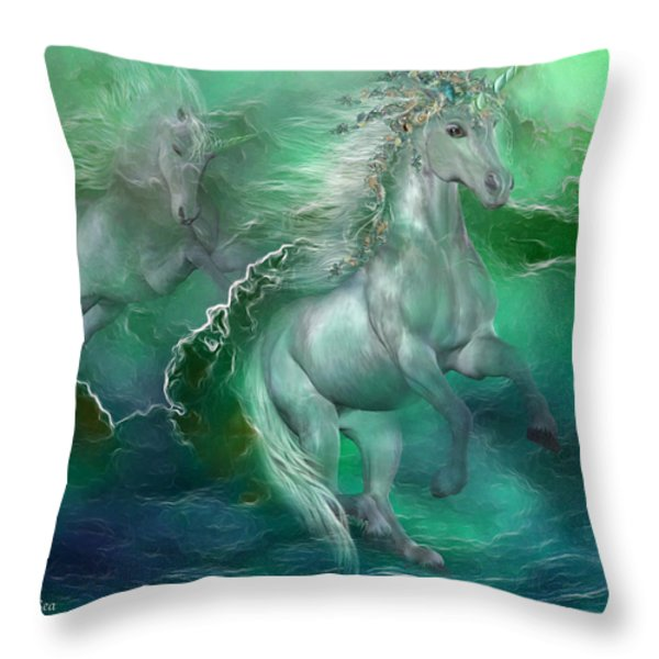 Unicorns Of The Sea Throw Pillow by Carol Cavalaris