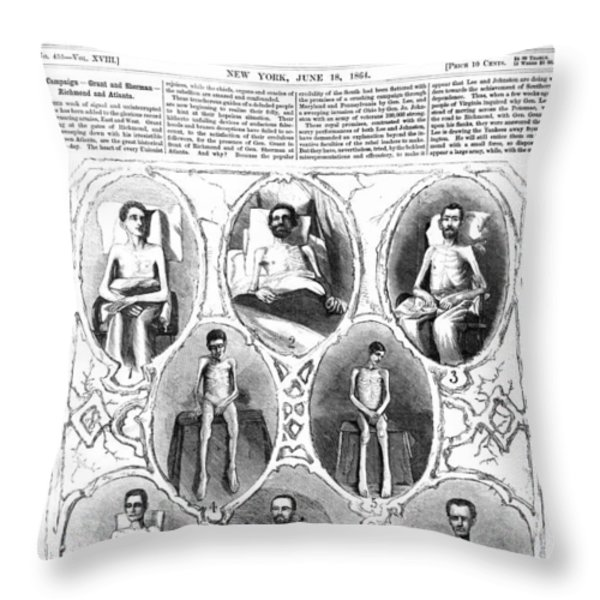 UNION SOLDIERS RELEASED  JUNE 1864 Throw Pillow by Daniel Hagerman