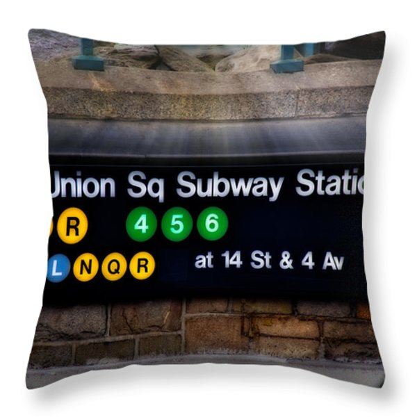 Union Square Subway Station Throw Pillow by Susan Candelario