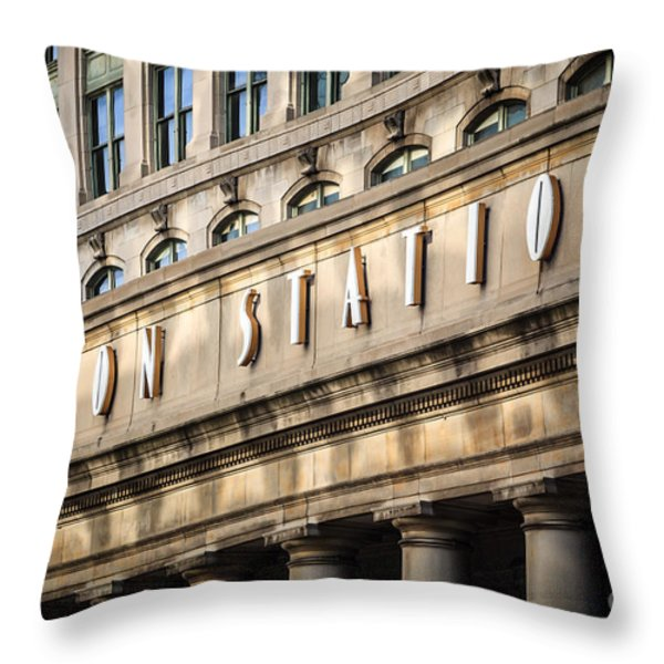 Union Station Chicago Sign And Building Throw Pillow by Paul Velgos