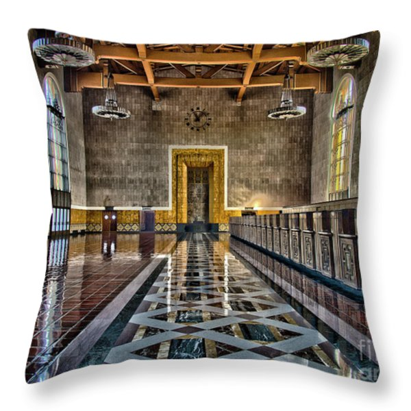 Union Station Interior- Los Angeles Throw Pillow by David Doucot