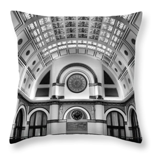 Union Station Lobby Black and White Throw Pillow by Kristin Elmquist