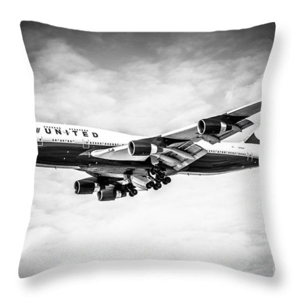 United Airlines Boeing 747 Airplane Black And White Throw Pillow by Paul Velgos