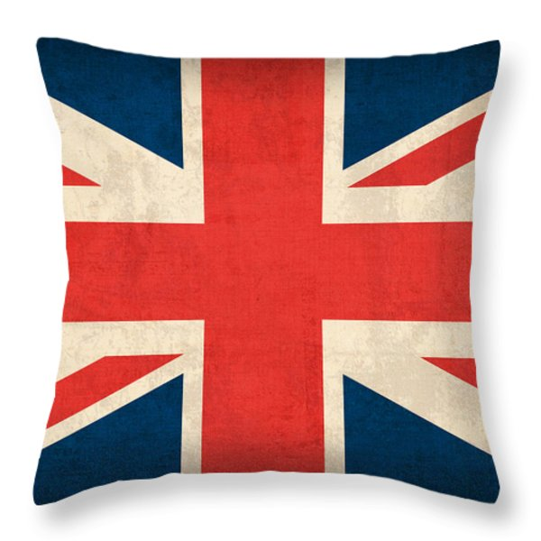 United Kingdom Union Jack England Britain Flag Vintage Distressed Finish Throw Pillow by Design Turnpike