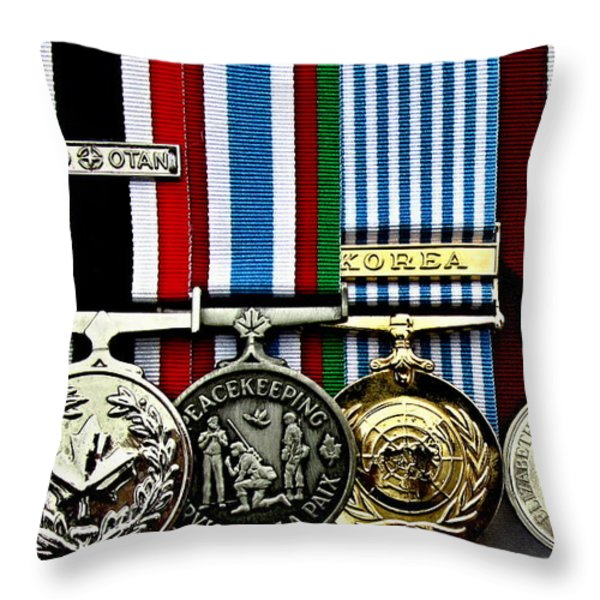 United Nations Peacekeeping Korean War Nato Medals Throw Pillow by Danielle  Parent