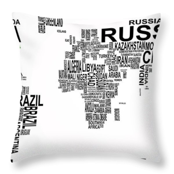 United States And The Rest Of The World In Text Map Throw Pillow by Daniel Hagerman