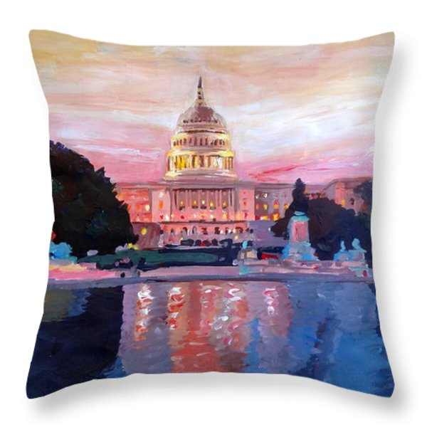 United States Capitol In Washington D.c. At Sunset Throw Pillow by M Bleichner