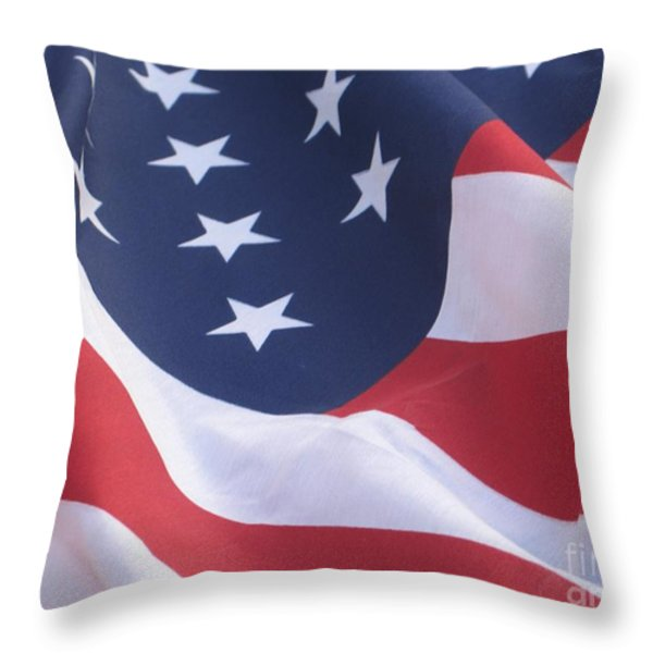 United States Flag  Throw Pillow by Chrisann Ellis