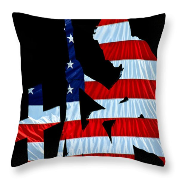 United States Flag with kneeling Soldier silhouette Throw Pillow by Bob Orsillo