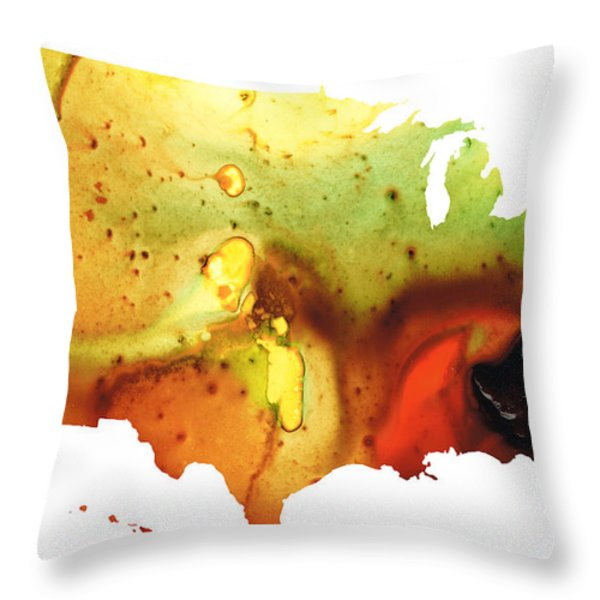 United States Of America Map 5 - Colorful Usa Throw Pillow by Sharon Cummings