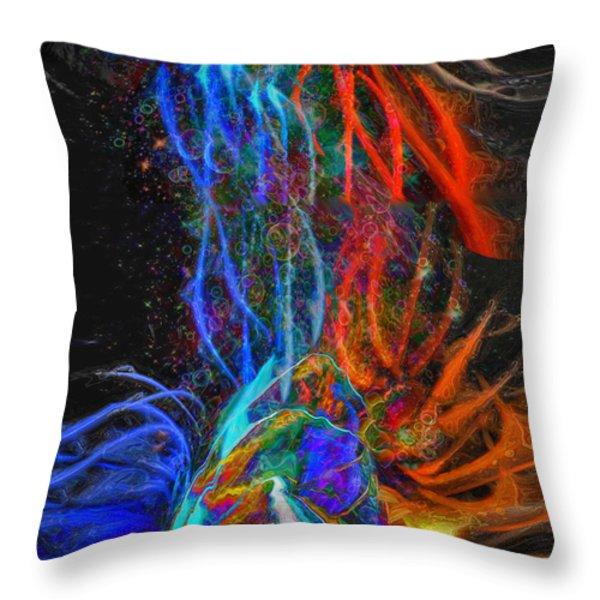 Universal Energy Throw Pillow by Linda Sannuti