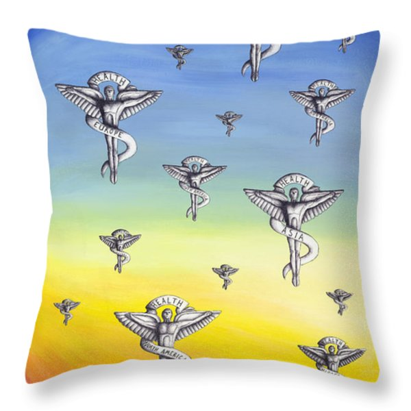 Universal Health Throw Pillow by Brent Buss