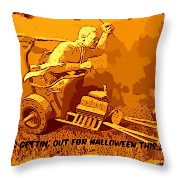 Universal Mosters Mummys Chariot Card Throw Pillow by John Malone
