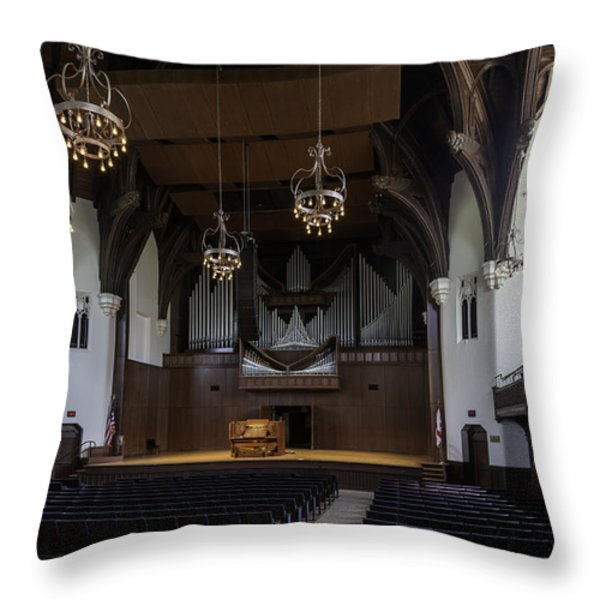 University Auditorium And The Anderson Memorial Organ Throw Pillow by Lynn Palmer
