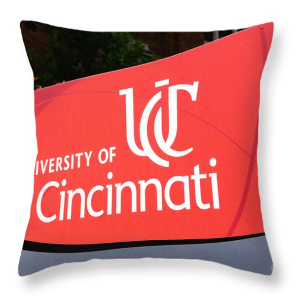 University Of Cincinnati Sign Throw Pillow by Paul Velgos