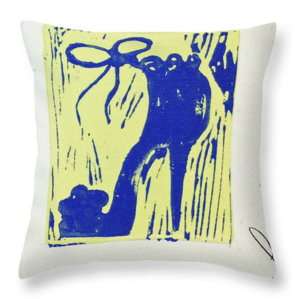 Untitled Shoe Print In Blue And Green Throw Pillow by Lauren Luna