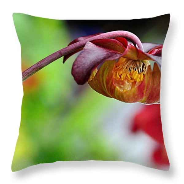 Unusual Aquatic Flower Throw Pillow by Kaye Menner