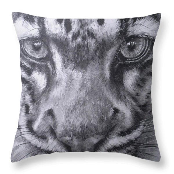 Up Close Clouded Leopard Throw Pillow by Barbara Keith