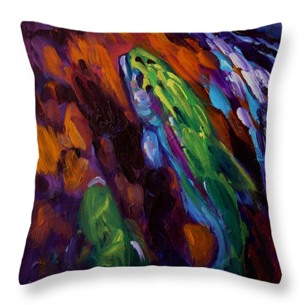 Up Stream Throw Pillow by Savlen Art